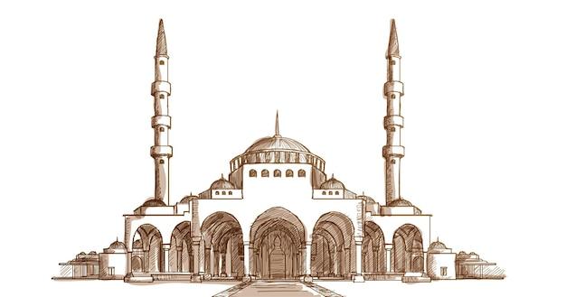 Vista frontal da mesquita islâmica ilustração desenhada à mão