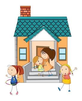 Vista frontal da mini casa com muitas crianças em fundo branco