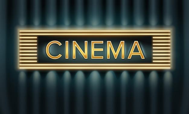 Vista frontal da tabuleta do cinema iluminada de vetor dourado em fundo escuro