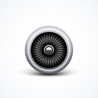 Vista frontal da turbina do motor do avião a jato. ventilador da lâmina de ar, motor de potência da aeronave.