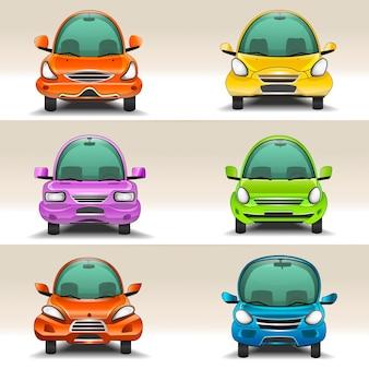 Vista frontal de carros coloridos dos desenhos animados