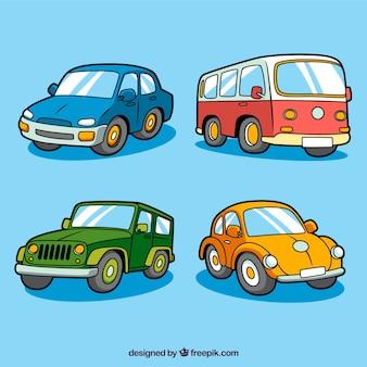 Vista frontal de carros coloridos