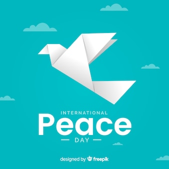 Vista frontal de dia de paz de origami