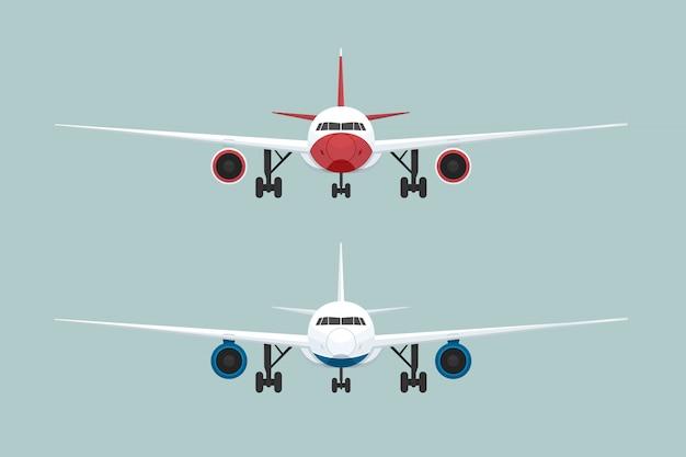Vista frontal de dois aviões. ilustração vetorial