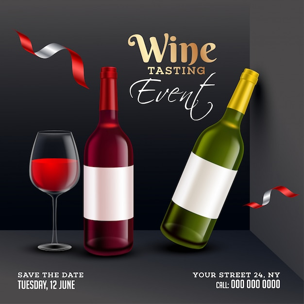 Vista frontal de garrafas de vinho realistas com copo de bebida em fundo preto para degustação de vinhos