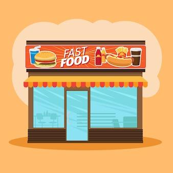 Vista frontal de loja de fast-food