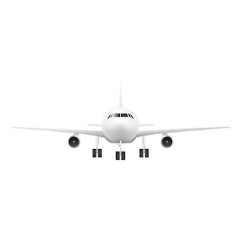 Vista frontal do avião realista