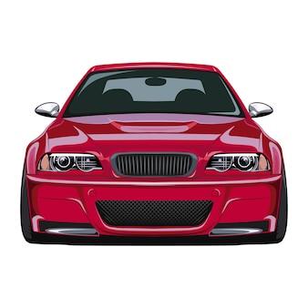 Vista frontal do carro esporte vermelho