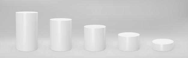 Vista frontal do cilindro 3d branco e níveis com perspectiva isolada.