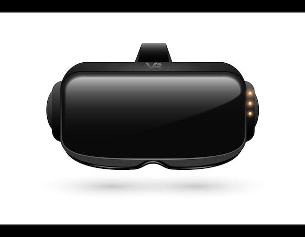 Vista frontal do close up de caixa de fone de ouvido de realidade virtual 3d realista. símbolo de simulação de tecnologia de ciberespaço digital de inovação futurista. dispositivo de máscara de vr estereoscópico de vetor. isolado em um fundo branco.