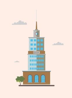 Vista frontal do edifício moderno e alto do banco. ilustração plana colorida.