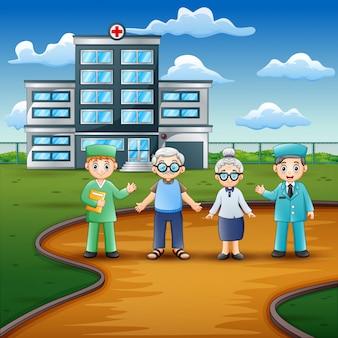 Vista frontal do hospital com médicos e paciente idoso