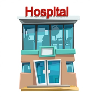 Vista frontal do hospital isolada
