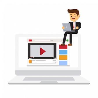 Vista frontal do laptop com empresário trabalhando nisso