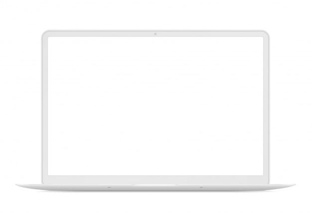 Vista frontal do laptop fino moderno. caderno branco ilustração isolada. perfeito para qualquer demonstração de interface do usuário.