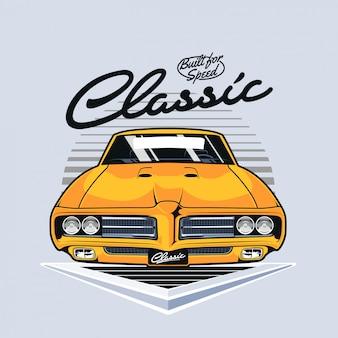 Vista frontal do muscle car vintage