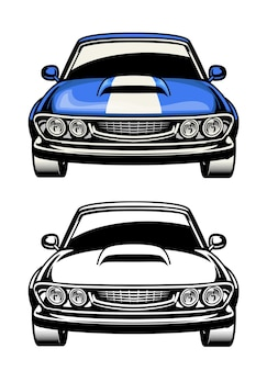 Vista frontal do muscle car