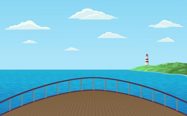 Vista frontal do navio de proa navegando no mar com farol na costa e céu azul ilustração