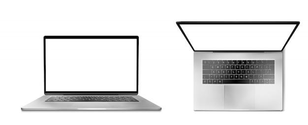 Vista frontal e frontal do computador portátil