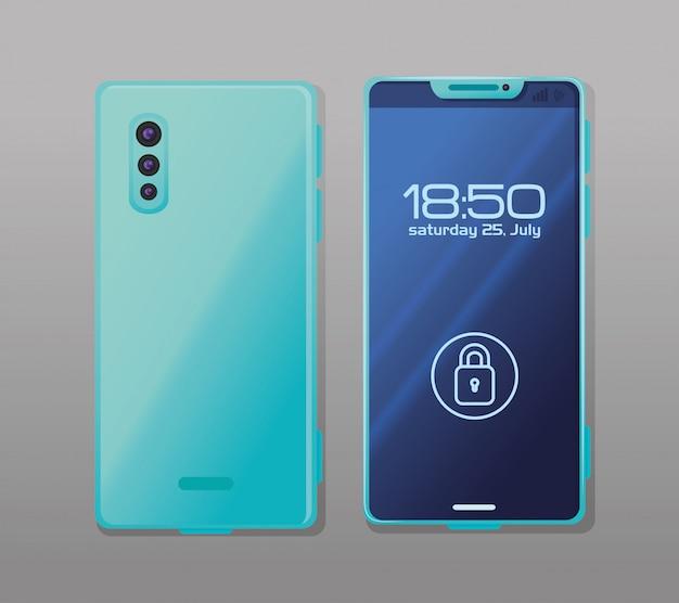 Vista frontal e lateral, maquete realista de smartphone com cadeado de segurança