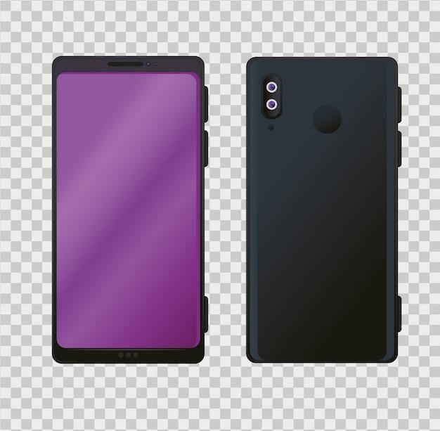 Vista frontal e lateral, maquete realista de smartphones na cor preta