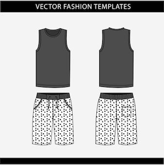Vista frontal e traseira da blusa e das calças