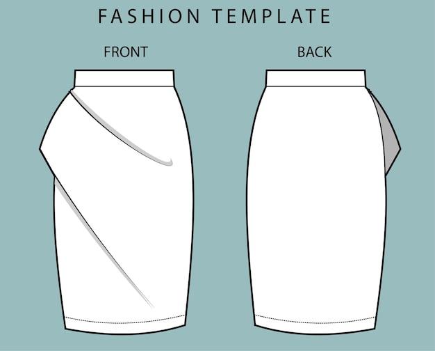 Vista frontal e traseira da saia