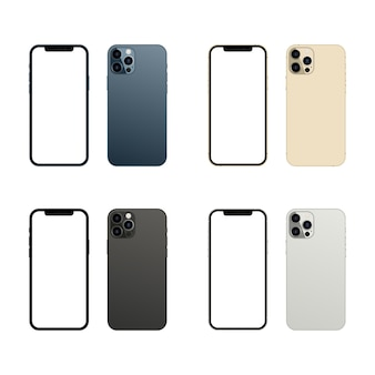 Vista frontal e traseira da tela do smartphone isolada no fundo branco