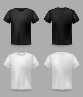 Vista frontal e traseira de camiseta branca e preta