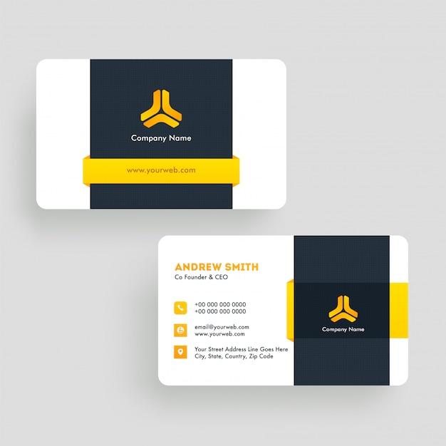 Vista frontal e traseira do cartão de visita com detalhes da empresa.