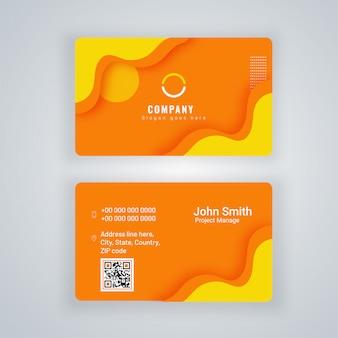 Vista frontal e traseira do cartão ou cartão de visita na cor laranja e amarela.