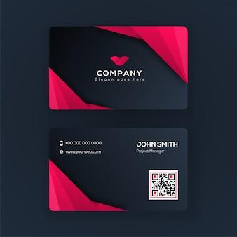 Vista frontal e traseira do cartão ou design de cartão de visita na cor rosa e azul.