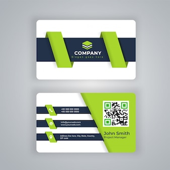 Vista frontal e traseira do cartão preto e verde