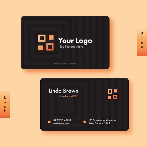 Vista frontal e traseira do layout do modelo de cartão de visita na cor preta