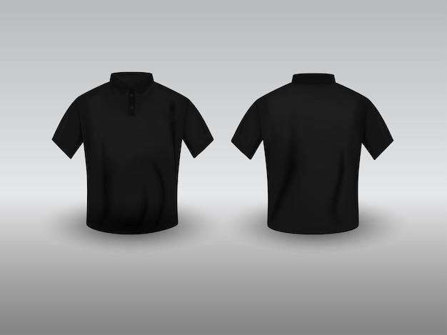 Vista frontal e traseira do modelo de t-shirt preto realista polo em fundo cinza.