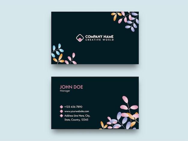 Vista frontal e traseira do moderno design de cartão de visita na cor preta.