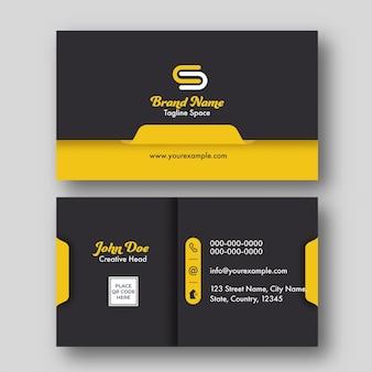 Vista frontal e traseira do negócio ou cartão de visita em fundo cinza.