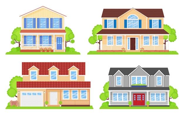 Vista frontal externa da casa. fachada doméstica com telhado. ilustração plana dos desenhos animados.