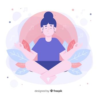Vista frontal mulher meditando para landing page