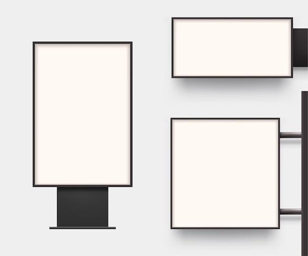 Vista frontal realista de caixas de luz em conjunto