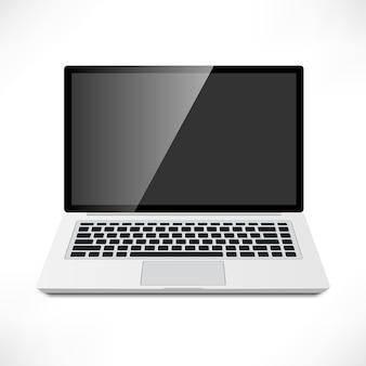 Vista frontal realista do laptop
