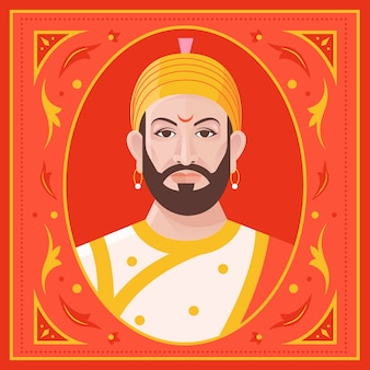 Vista frontal shivaji maharaj ilustração