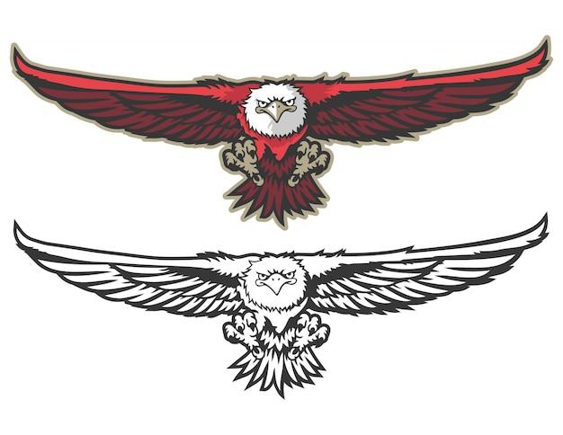 Vista frontal voadora águia mascote logo esporte