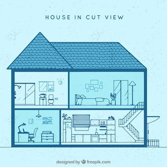 Vista interior da casa em estilo linear