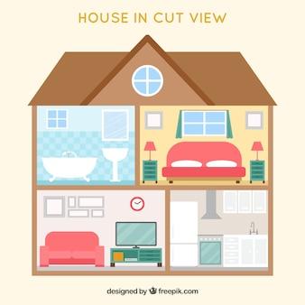 Vista interior de casa agradável em design plano