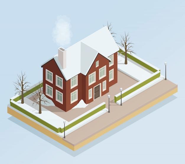 Vista isométrica ao ar livre da casa de inverno