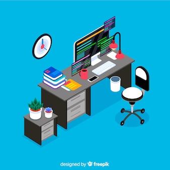 Vista isométrica da mesa de escritório moderna com design plano