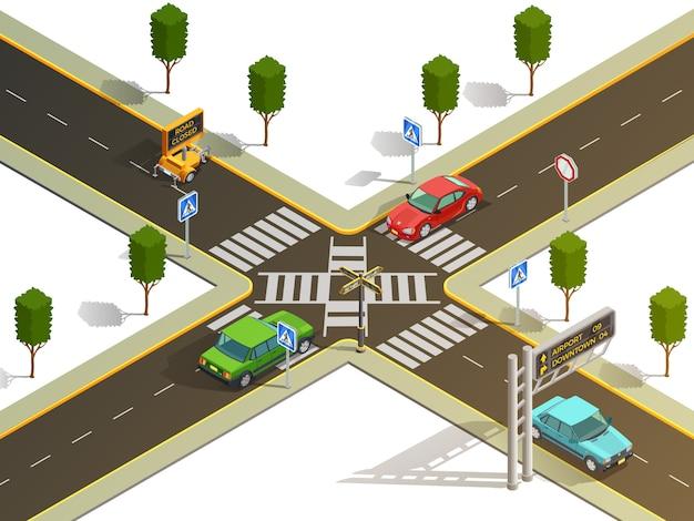 Vista isométrica da navegação do tráfego da intersecção da cidade