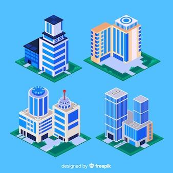 Vista isométrica de edifícios de escritórios modernos