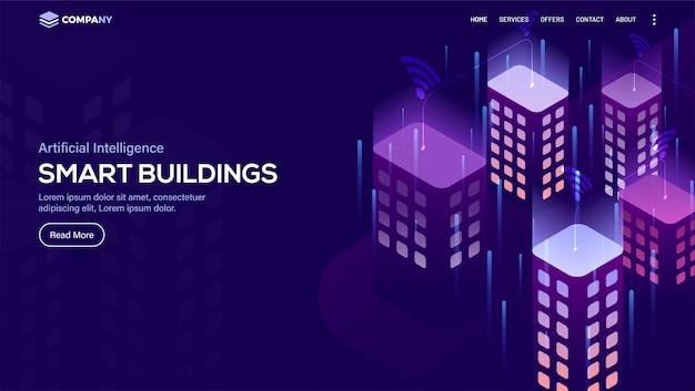 Vista isométrica de edifícios inteligentes